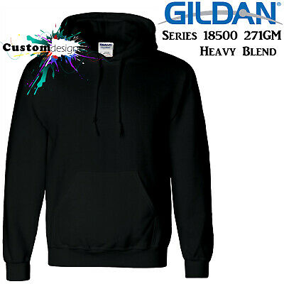 Gildan Black Hoodie Heavy Blend Blank Plain Hooded Sweat Sweater Big Mens S -5XL