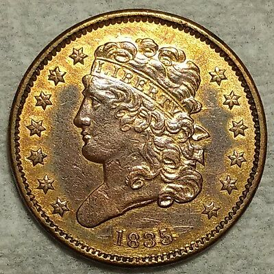 Uncirculated details 1835 Half Cent! Sharp old piece with lots of red!