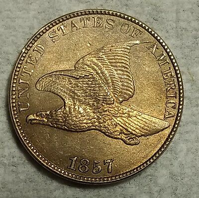Brilliant Uncirculated 1857 Flying Eagle Cent! Stunning, original piece!