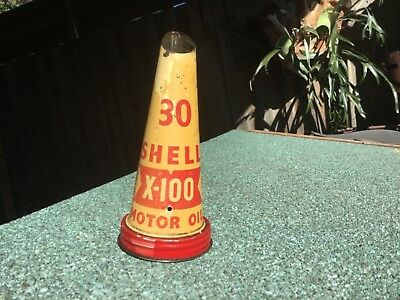 Vintage SHELL Oil Bottle Tin top early cream background x-100 30