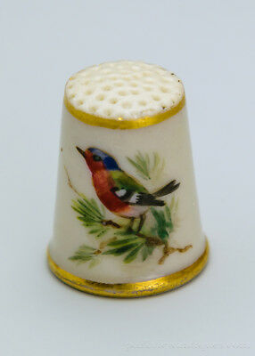 Rare Royal Worcester Porcelain Bird Thimble Puce Mark C. 1890 Manner of Powell