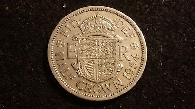 1954  HALF CROWN  GREAT BRITAIN COIN  ENGLISH 1/2 crown  COIN  #  1846