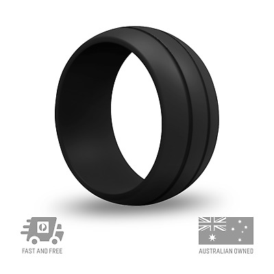 Men's Black Silicone Wedding Ring | FLEX Trax | Made for Work & Play | Aus Owned