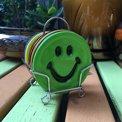 Vintage Crystal Craft Smiley Coasters with stand Retro resin collectable 1960s