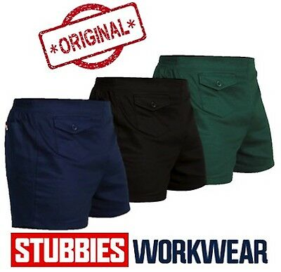 Genuine Stubbies Original Plain Front Elastic Back Drill Mens Work Short Se2010