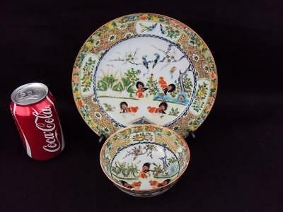 IMPRESSIVE Chinese Antiques Oriental Porcelain Famille Rose Plate and Bowl