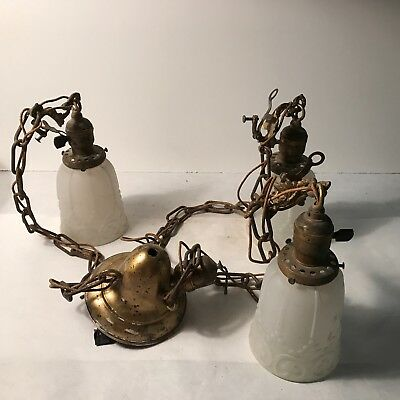 Antique brass gravity bowl 3 frosted glass pendant shade ceiling light fixture