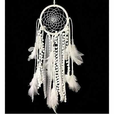 Dremisland Dream catcher Handmade Traditional White Feather Wall Hanging (White)