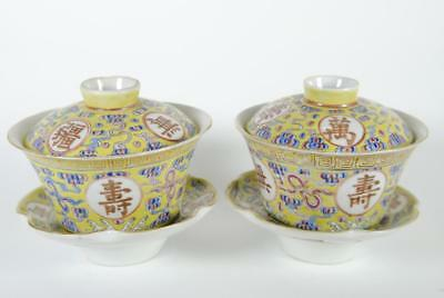 2 Sets of 3-pc Antique Chinese Famille Rose Porcelain Tea Cups w Lids & Saucers