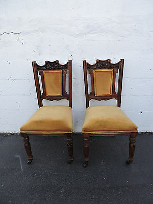 Pair of 1880's Carved Early Victorian Living Room Side Chairs 6862
