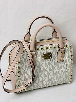 ad30ba5cb36d NWT MICHAEL KORS SANDRINE Stud SM Satchel Bag In VANILLA/BALLET PVC Leather