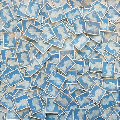 50 Unfranked 2nd Second Class Stamps Off Paper (With Very Minor Faults) #500