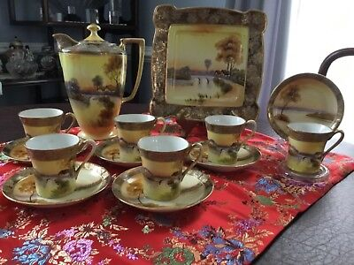 Vintage Nippon China Coffee Set, hand painted