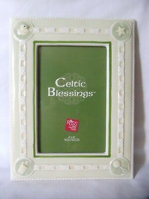 Irish Baby Celtic Picture Frame Light Green Porcelain Duck Pacifier Bottle 4x6