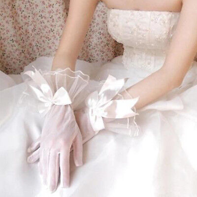 Popular Cocktail Prom White Polyester Lace Bow Bride Gloves Opera Trendy 1 pair