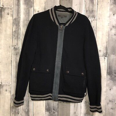 Barbour Steve Mcqueen Medium Mens Wool Knit Varsity Jacket Elbow Patches