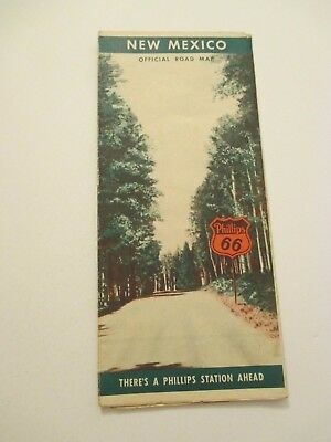 Vintage 1940s Phillips 66 New Mexico State Travel State Oil Gas Station Road Map