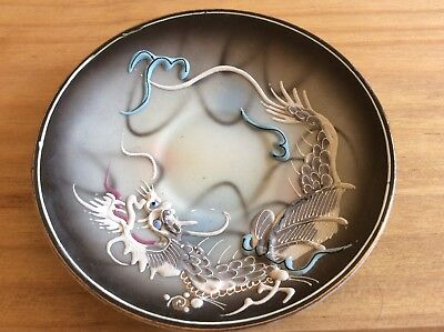 Vintage Chinese porcelain saucer'Double Dragon Back Stamped '