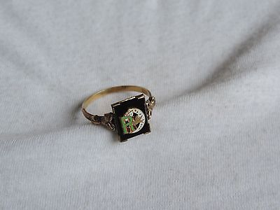 Odd Fellows Ring Onyx Vintage Daughters of Rebekah Size 11 Gold Filled  (zz028)