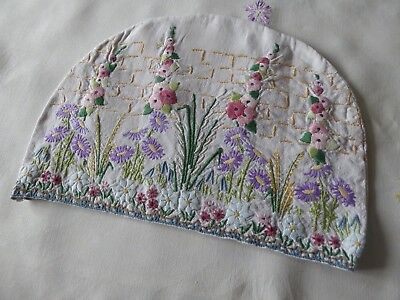 Vintage Hand Embroidered Tea Cosy/teapot Cover- Beautiful Raised Embroidery