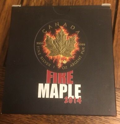 2014 Canada Fire  Maple, Gold 1oz Silver Coin ***Low Mintage 500***