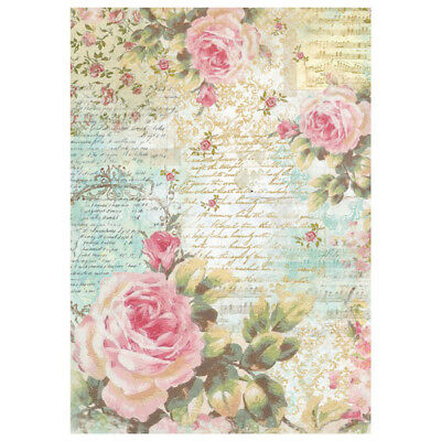 1 Blatt DIN A4 Decoupage Strohseide DFSA4204 rose and writings Stamperia