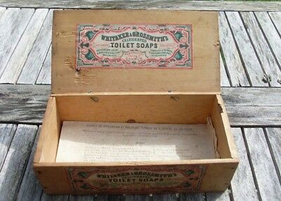 ANTIQUE LATE VICTORIAN 'WHITAKER & GROSSMITH'S SOAPS' COUNTER DISPLAY BOX c1880s