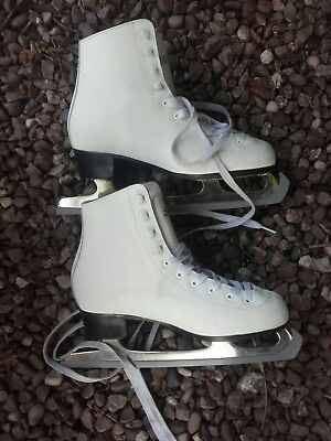 Girls Ladies Spirit2 Size 6 Leather Ice Skating Boots - Gs Blades - Nice Cond'