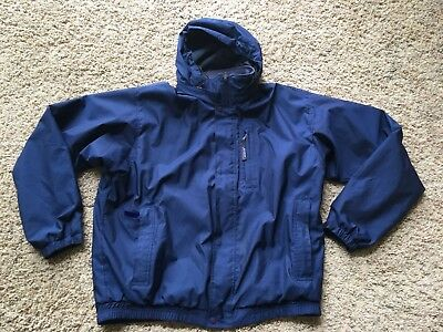 Vintage Patagonia Rain Jacket Lined Polyester  Men's L Dark Blue Full Zip Hood