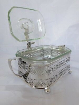 DIFFERENT ANTIQUE SILVER PLATED SERVING DISH WITH ORLAK GLASS LINER & LID c1902