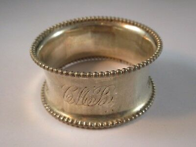 Antique Sterling Napkin Ring Beading with a Monogram~10.5 dwt