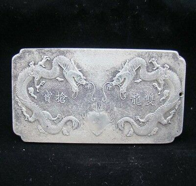 Collectable Handmade Carved Statue Tibet Silver Amulet Pendant Two Dragon