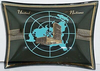 "Vtg 1960's Houze Glass Advertising Tray Dish United Nations Building 6.5"" x 5"""