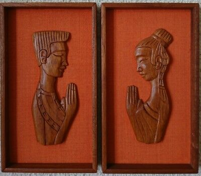 2 x Mid Century Carved Teak Wall Art Pictures, Man & Woman Praying, Witco Style