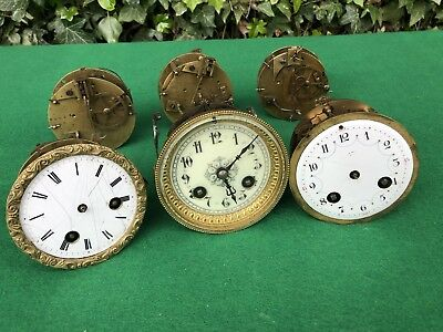 Antique Lot Of 3 French Clock Movements, Spares/Repair