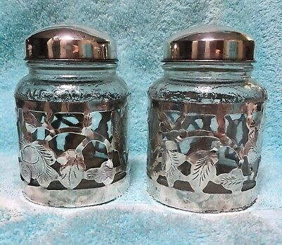 Pair Of Vintage Mexico Sterling Silver Sleeve over Glass Nestle  Jar