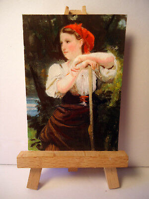The Haymaker ACEO Original PAINTING by Ray Dicken a William-Adolphe Bouguereau