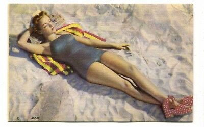 Beautiful Bathing Beauty Pinup Beach Swimsuit Girl 1950s Linen Postcard - B