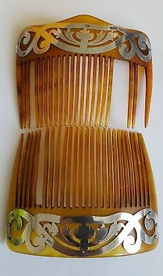 2 Antique hallmarked  Sterling Silver mounted hair comb / Combs  Circa 1910