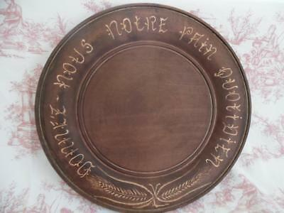 Gorgeous Vintage French Bread Plate / Board Carved 'donnez Nous' -So Shabby Chic