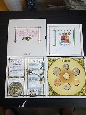 1987 United Kingdom Brilliant Uncirculated 7 Coin Collection Set Royal Mint