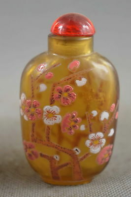 Collectable Handwork Old Glass Paint  Royal plum blossom Royal Rare Snuff Bottle