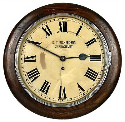 KT RICHARDSON, SHREWSBURY- EARLY C20th SCHOOL STATION GPO-STYLE FUSEE WALL CLOCK