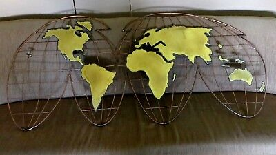 Curtis Jere, 1981 Signed World Map Metal Wall Sculpture (condition issues)