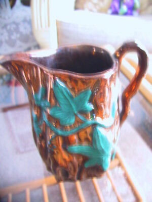 Vintage Copper lustre cream jug with green ivy leaves