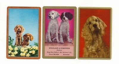 3 Vintage Playing Cards ~ Spaniel Dogs ~ 2 Blank Swaps