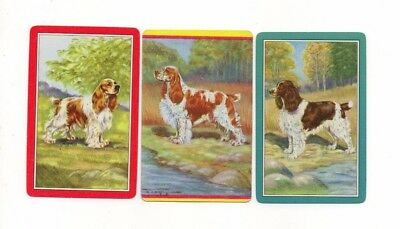 3 Vintage Playing Cards ~ English Springer Spaniel Dogs ~ 2 Blank Swaps
