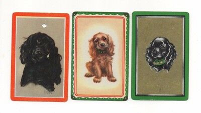3 Vintage Playing Cards ~ Cocker Spaniel Puppy Dogs ~1 Blank Swap ~1 Signed Cook