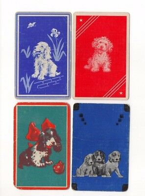 4 Vintage Playing Cards ~ Spaniel Puppy Dogs ~ Linen ~ 1932 Extra Joker