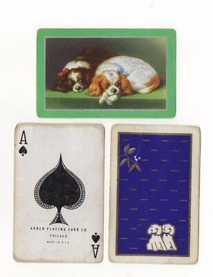 3 Vintage Playing Cards ~ Spaniel Puppy Dogs ~ Bird ~ Ace of Spades